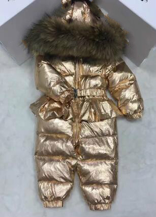 jumpsuit kids winter baby snowsuit + nature fur  90 duck down jacket for girls coats Winter Park for boys overalls