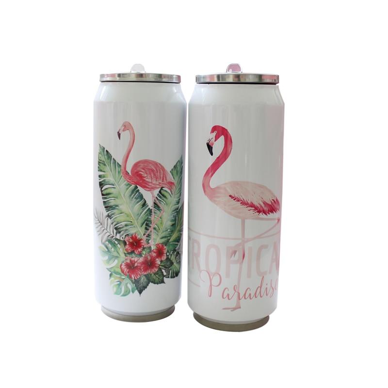500ml Flamingo Pattern Creative Jar Mug Stainless Steel Chinchilla Thermos Portable Unisex Student Personality Fashion Straw Cup