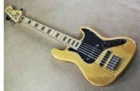 Factory wholesale GYJB 5019 original wood color solid ASH body with black Plate 5 strings Jazz Bass Guitar, Free shipping