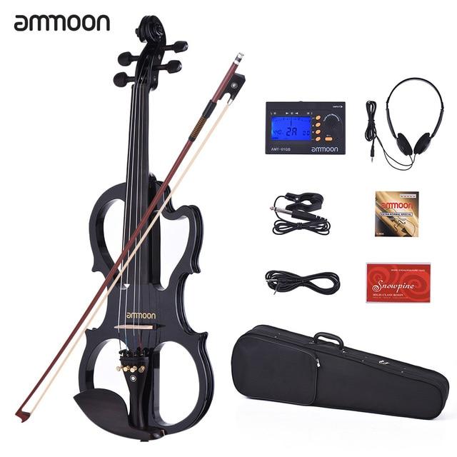 Ammoon VE-201 скрипка полный размер 4/4 твердая деревянная Бесшумная электрическая для скрипки кленовый корпус эбеновый гриф с колками с скрипичные принадлежности