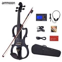 Ammoon VE-201 violino tamanho completo 4/4 madeira maciça silencioso violino elétrico bordo corpo ébano fingerboard pegs com acessórios violino