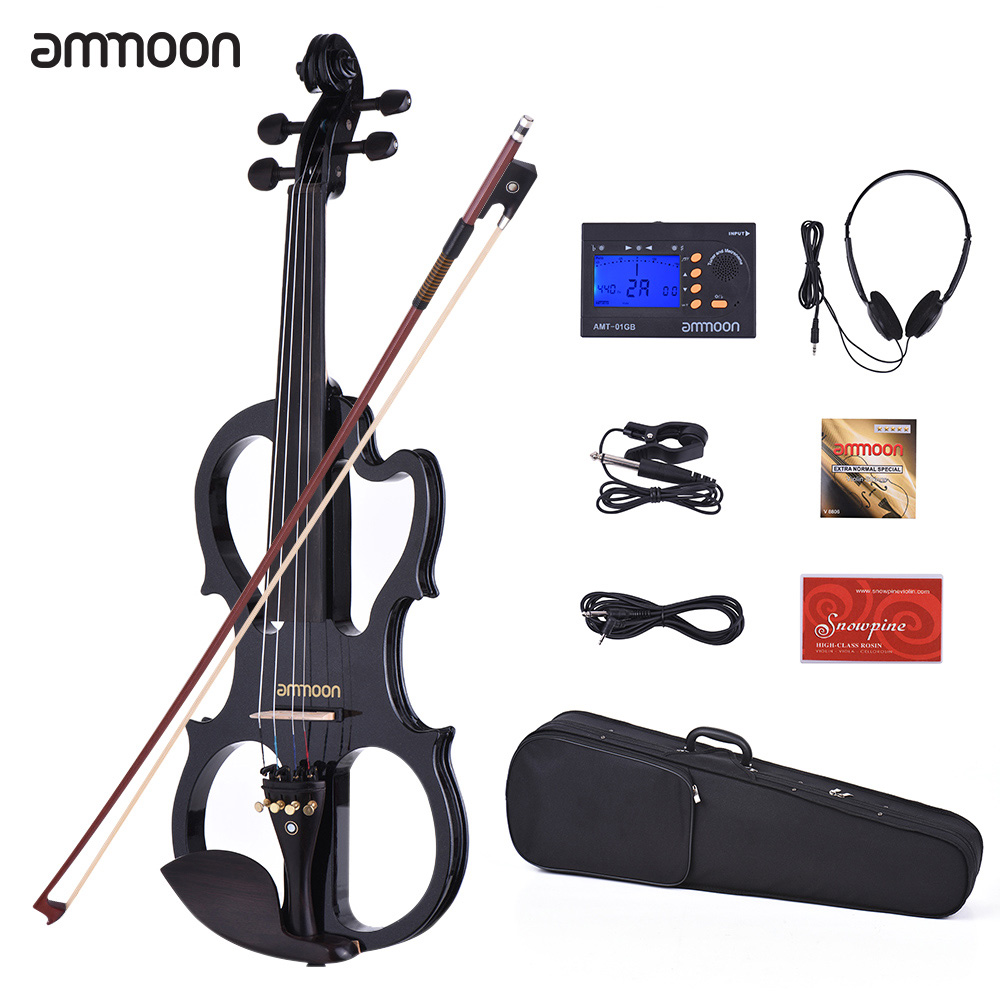 Ammoon VE-201 Violin Full Size 4/4 Solid Wood Silent Electric Violin Maple Body Ebony Fingerboard Pegs With Violin Accessories