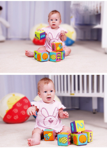 Image 3 - Baby Mobile Magic Cube Baby Toy Plush Block Clutch Rattles Early Newborn Baby Educational Toys 0 12 Months