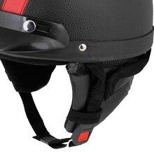 EDFY Красный Черный Искусственной Кожи С Покрытием Мотоцикл Крышка Половина Шлем Scoop Visor