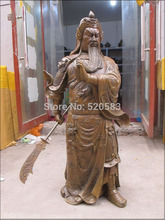 free 39″China Bronze Sculpture dragon long Beautiful beard god knife Guan Gong Statue fast