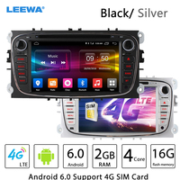 LEEWA 7 Silver/Black Android 6.0 (64bit) DDR3 2G/16G/4G LTE Quad Core Car DVD GPS Radio Head Unit For Ford Transit Connect