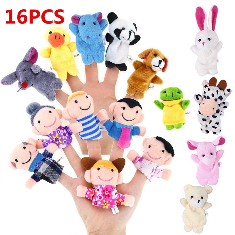 RCtown 16pcs Cartoon Animal Plush Finger Puppets Set Cute Dolls  For Children, Story Time Shows, Playtime, Schools