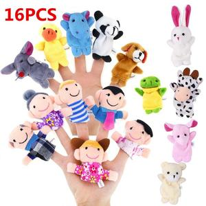 RCtown 16pcs Cartoon Animal Plush Finger Puppets Set Cute Dolls for Children, Story Time Shows, Playtime, Schools(China)