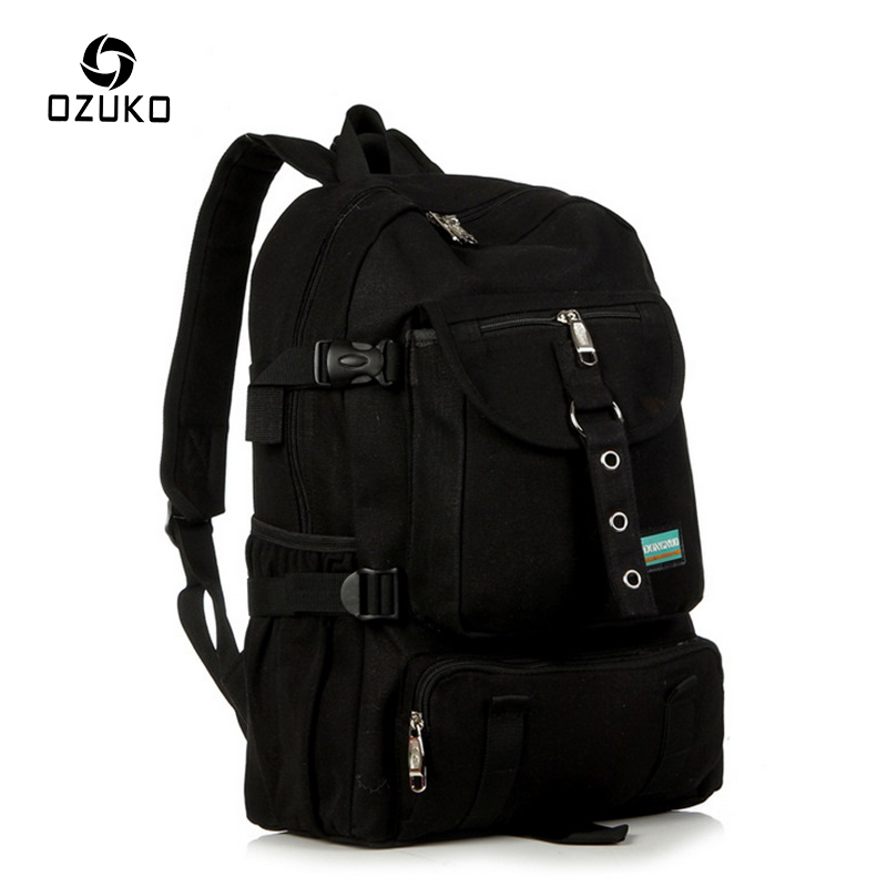 2018 OZUKO Fashion Male Canvas Backpack Men's Rucksack Student School Bag For Teenagers Leisure Travel Mochila Laptop Backpacks ozuko multi functional men backpack waterproof usb charge computer backpacks 15inch laptop bag creative student school bags 2018