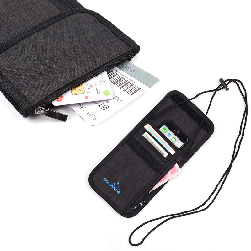 New RFID Oxford Passport Cover with shoulder Strap Portable Multifunctional Card Holder Anti theft Travel Wallet Small Bag in Wallets from Luggage Bags