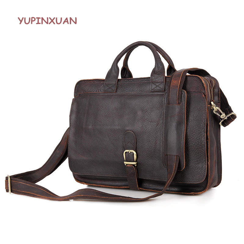 YUPINXUAN Europe Top Luxury Cow Leather Handbags for Men Handmade Vintage Briefcase Brown Leather Hand Bags Cowhide Office Bag yupinxuan travel bag high quality leather pu messenger bags for men brown vintage handbag europe black weekender bag for gift