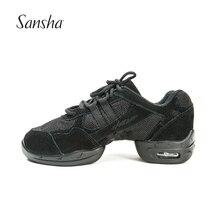 Sanshaเต้นรำรองเท้าผ้าใบตาข่ายและหนังนิ่มPUแยก Sole Low Top Lace Upโมเดิร์นแจ๊สรองเท้าสำหรับผู้หญิงผู้ชายP21LS