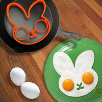 Delicate 1pcs egg little white rabbit egg shaper silicone moulds egg ring silicone mold cooking tools