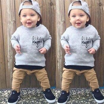 цена на AJLONGER  Fashion Spring Autumn Children Boys Clothing Sets Baby Sweater Pants 2 Pcs/Sets Kids Clothes Toddler Tracksuits