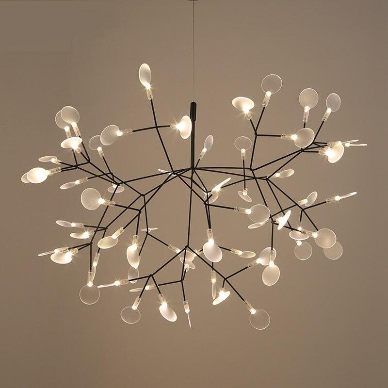 Nowoczesne drzewo Heracleum wisiorek z listkiem światła lampy LED lampy wiszące sztuka do salonu Bar żelaza restauracja oświetlenie domu PA0217