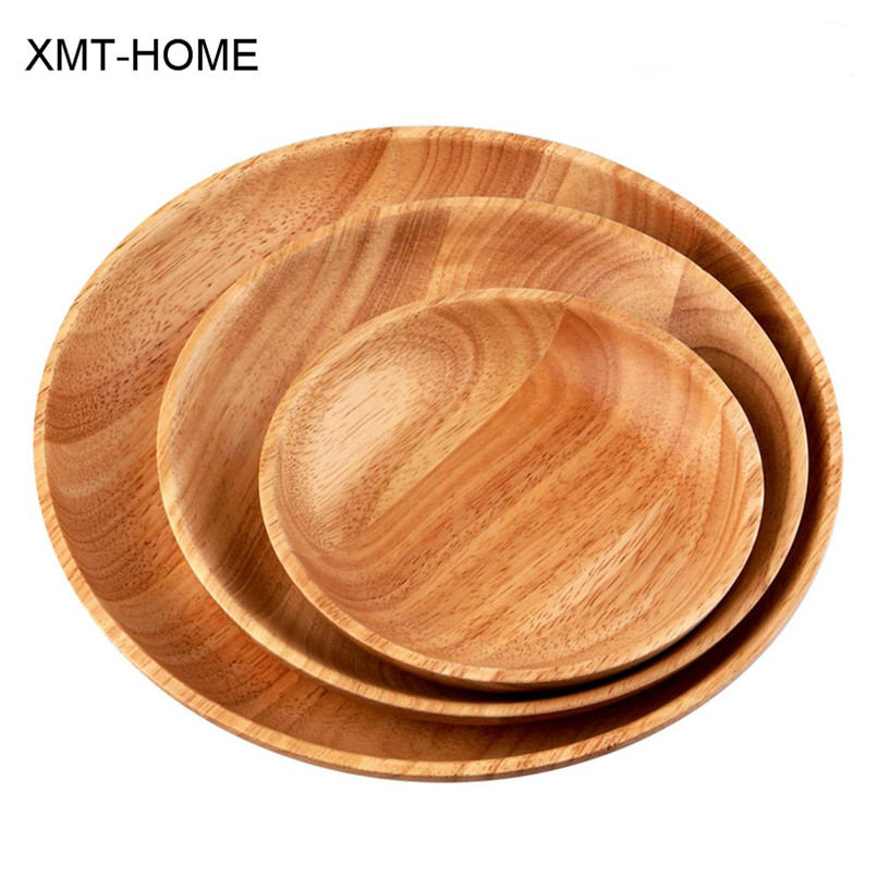 Xmt home thailand rubber wood dishes round western tray for Cuisine wooden