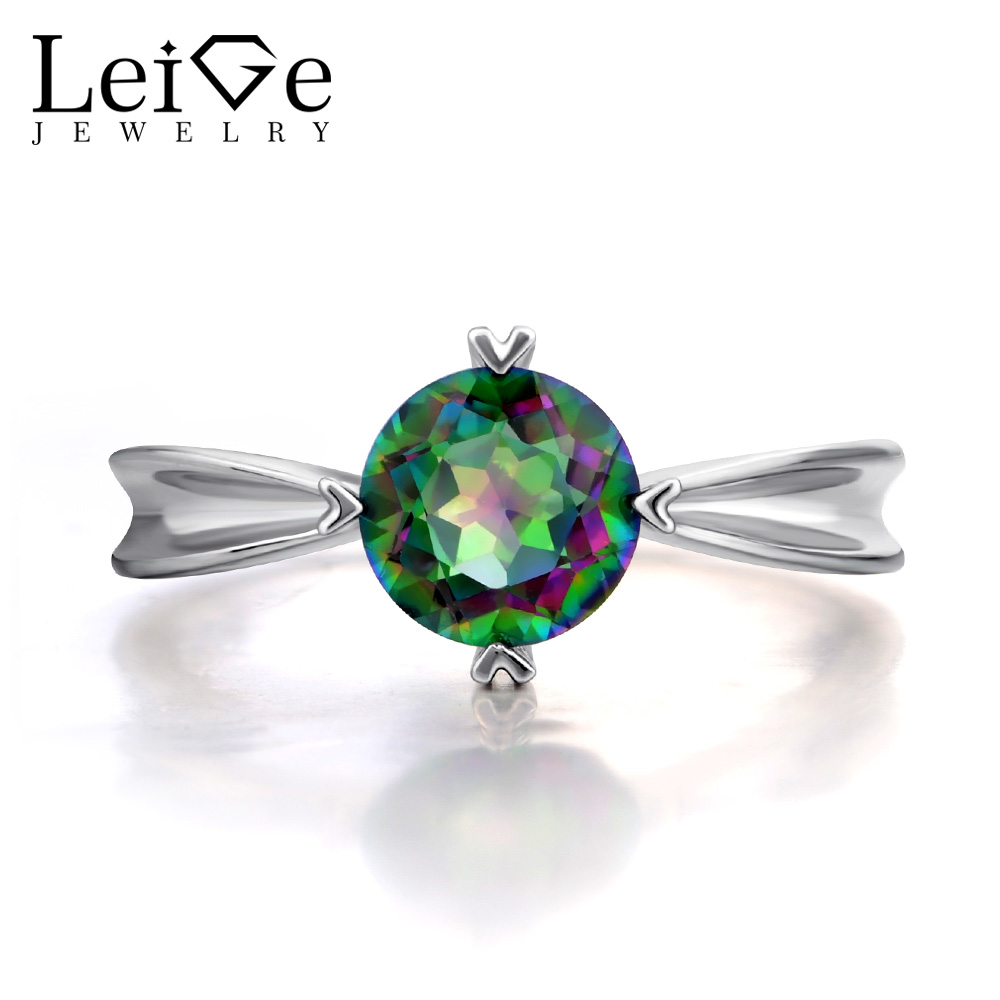 Leige Jewelry Mystic Topaz Rings Solitaire Gemstone Promise Engagement Rings for Women Rainbow Topaz Round Cut Fine Jewelry