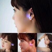 KISS WIFE 2018 Hot Sale 1PCS Charm LED Earring Light Up Crown Glowing Crystal Stainless Ear Drop Ear Stud Earring Jewelry