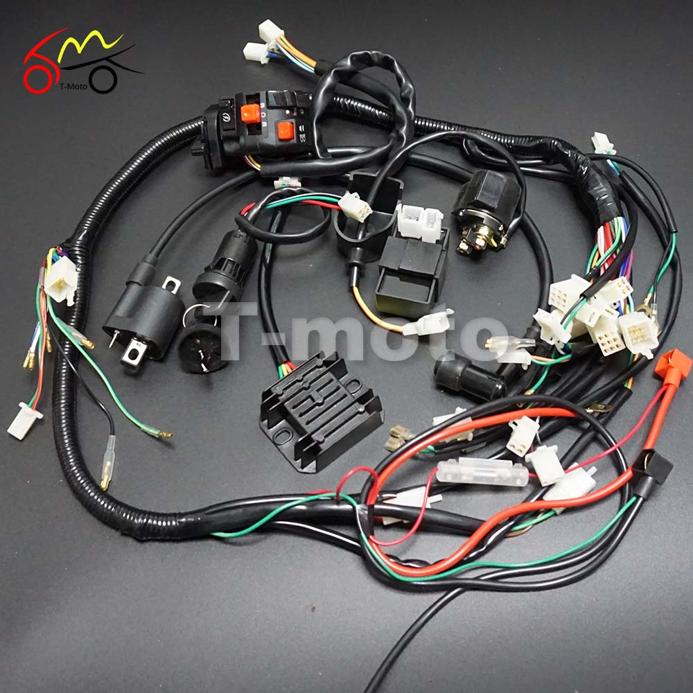 Full Wiring Harness Loom Ignition Coil CDI For 150cc 200cc 250cc 300cc  Zongshen Lifan ATV Quad Buggy Electric Start AC Engine-in Motorbike  Ingition from ...