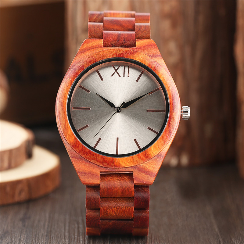 Fashion Casual Red Wood Men Wrist Watch Nature Bamboo Wooden Watches Bracelet Clasp Strap Round Dial Novel Creative Clock Gift green face bamboo gift new arrival handmade nature wood bangle simple men hot casual women wrist watch modern novel fold clasp