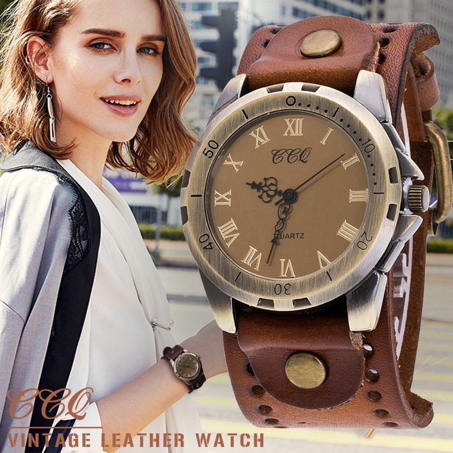 CCQ Brand Vintage Cow Leather Bracelet Men Women Wrist Watch Casual Luxury Roman Number Quartz Watch Relogio Masculino Clock