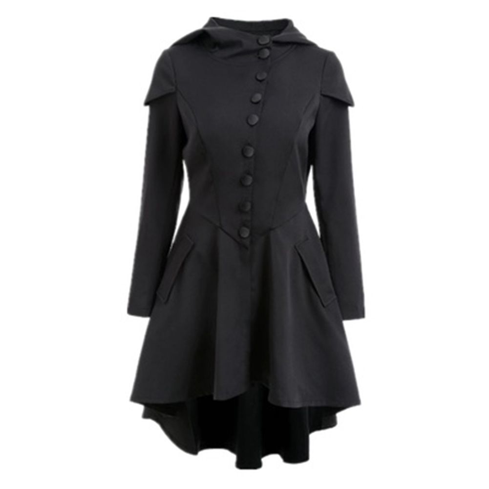 Women Trench Coat 2018 Black Gothic Overcoat Hooded Button 3 Colors Vintage Fashion Slim Overcoat