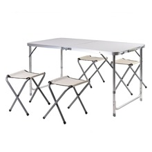 5 Pieces/Set Aluminum Lightweight Portable Spacesaving Outdoor Folding Luggage Table Seat Group 4 Foldable Stools+1 Table