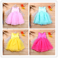 Retail Girls Lace Vest Dress 2016 New Fashion Summer Party Dresses Children Casual Clothing Cute Girl