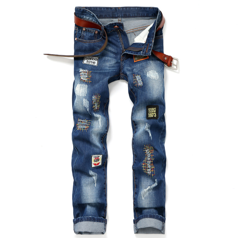 Personality Badge Patchwork Jeans Men Ripped Jeans Fashion Brand Scratched Biker Jeans Denim Straight Slim Fit Casual Pants 2017 fashion patch jeans men slim straight denim jeans ripped trousers new famous brand biker jeans logo mens zipper jeans 604