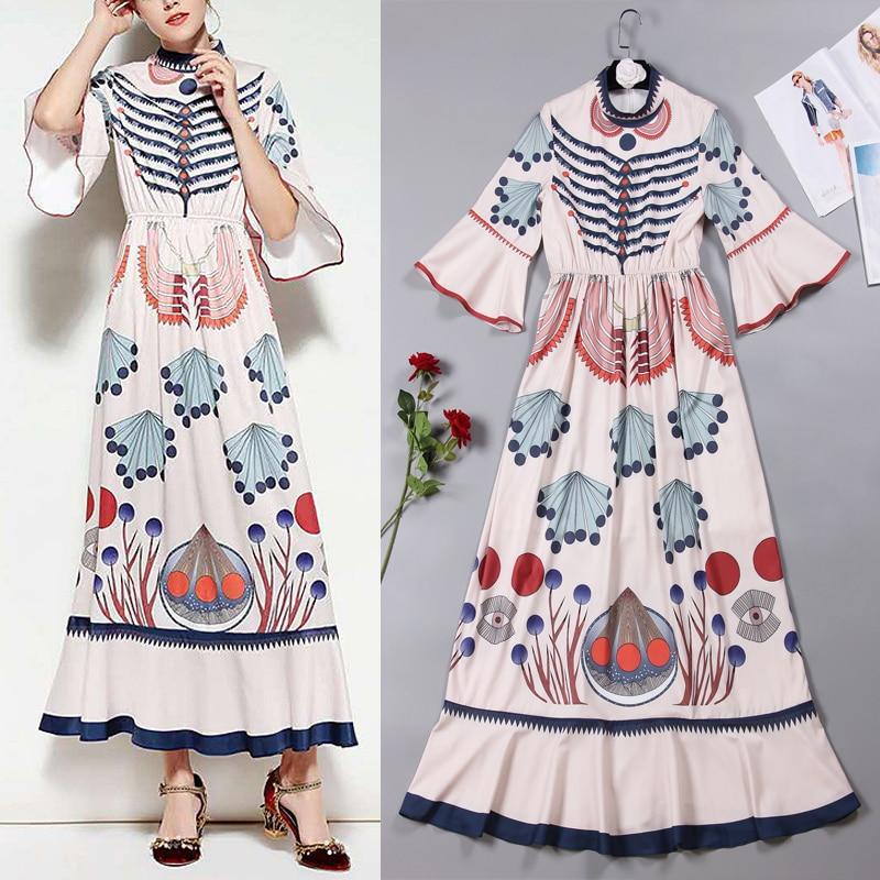 Новый летний большой модный крутой светильник цветное платье с роговым рукавом и