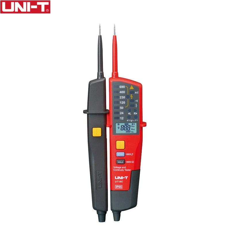 UNI-T ut18c 0 690 v ac dc tensão testadores display lcd faixa automática ip65 medidor à prova dno água nenhuma função de teste de potência
