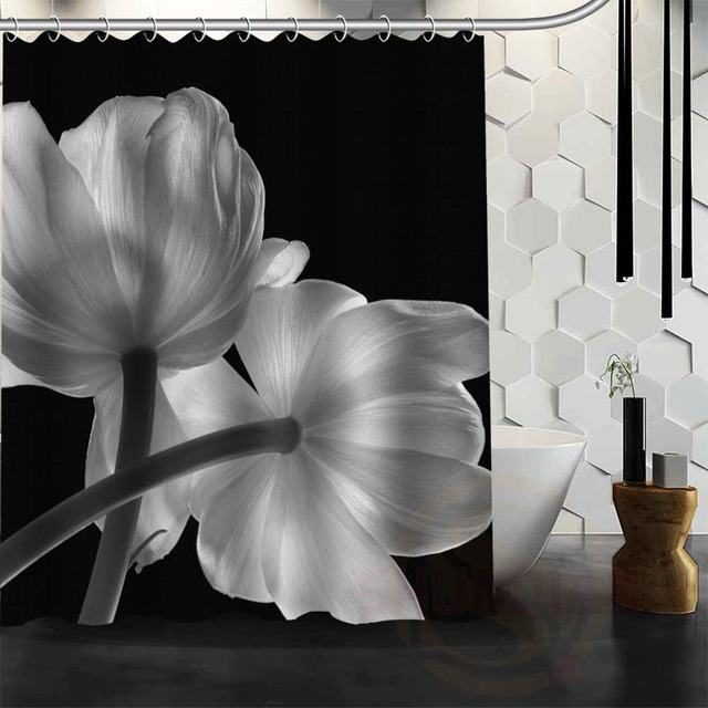 Best Nice Custom Black And White Flowers Shower Curtain Bath Waterproof Fabric For Bathroom MORE SIZE WJY27