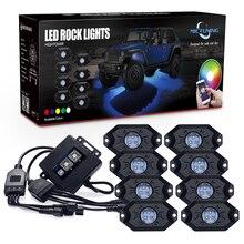 MICTUNING RGB LED Rock Luci Bluetooth Multicolore Al Neon HA CONDOTTO LA Luce Kit con 8 Luci per Jeep Camion Dell'automobile ATV Baccelli SUV Veicolo Barca