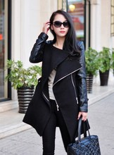 2019 Autumn Fashion Women Long Wool Blends Coat Zippers Sleeve Faux Leather Patchwork