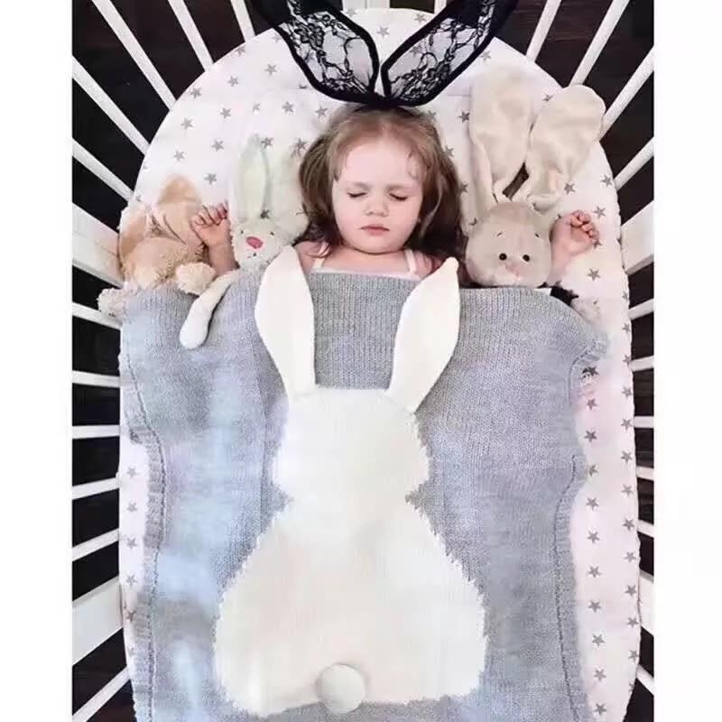 Rabbit Strikket Swaddling Blanket 100% Cotton Baby Tepper Cute Grey Bed Sofa Cobertores Mantas BedSpread Bath Håndklær Gift