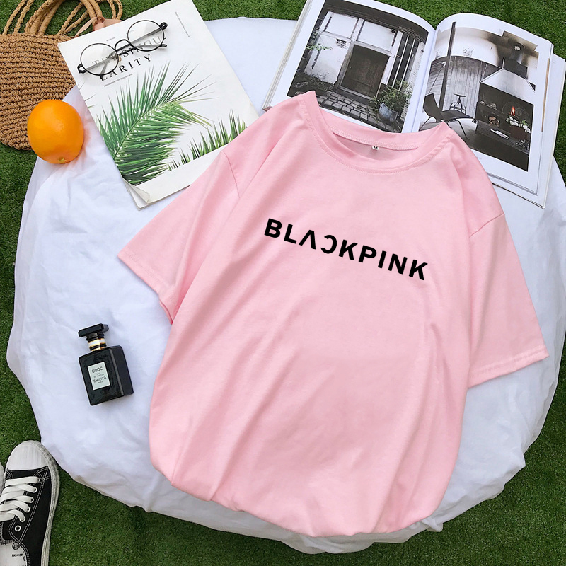 K-pop Girl Group BLACKPINK Print Pink T-shirt Women Fashion Tee Tops Harajuku Ulzzang Girl Crush Fans Album Concert BLINK Gift