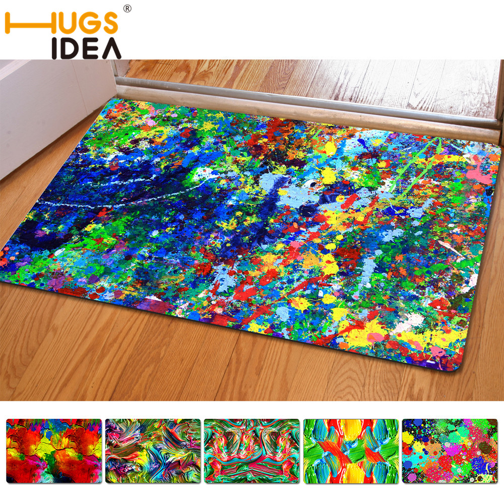 Rubber mats galway - Hugsidea Funny Oil Painting Anti Slip Bath Mats Thin Rubber Felt Colorful Carpet For Living