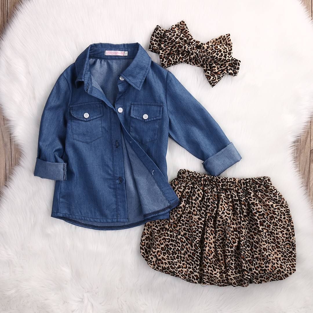 3PCS Set Cute Baby Girls Clothes 17 Summer Toddler Kids Denim Tops+Leopard Culotte Skirt Outfits Children Girl Clothing Set 3