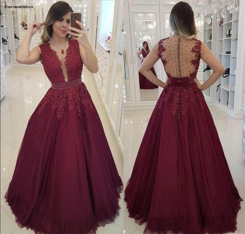 Beautiful Burgundy A-Line   Prom     Dresses   2019 Lace Appliques Beaded Illusion Buttons Back Graduation Party Gowns vestidos de gala
