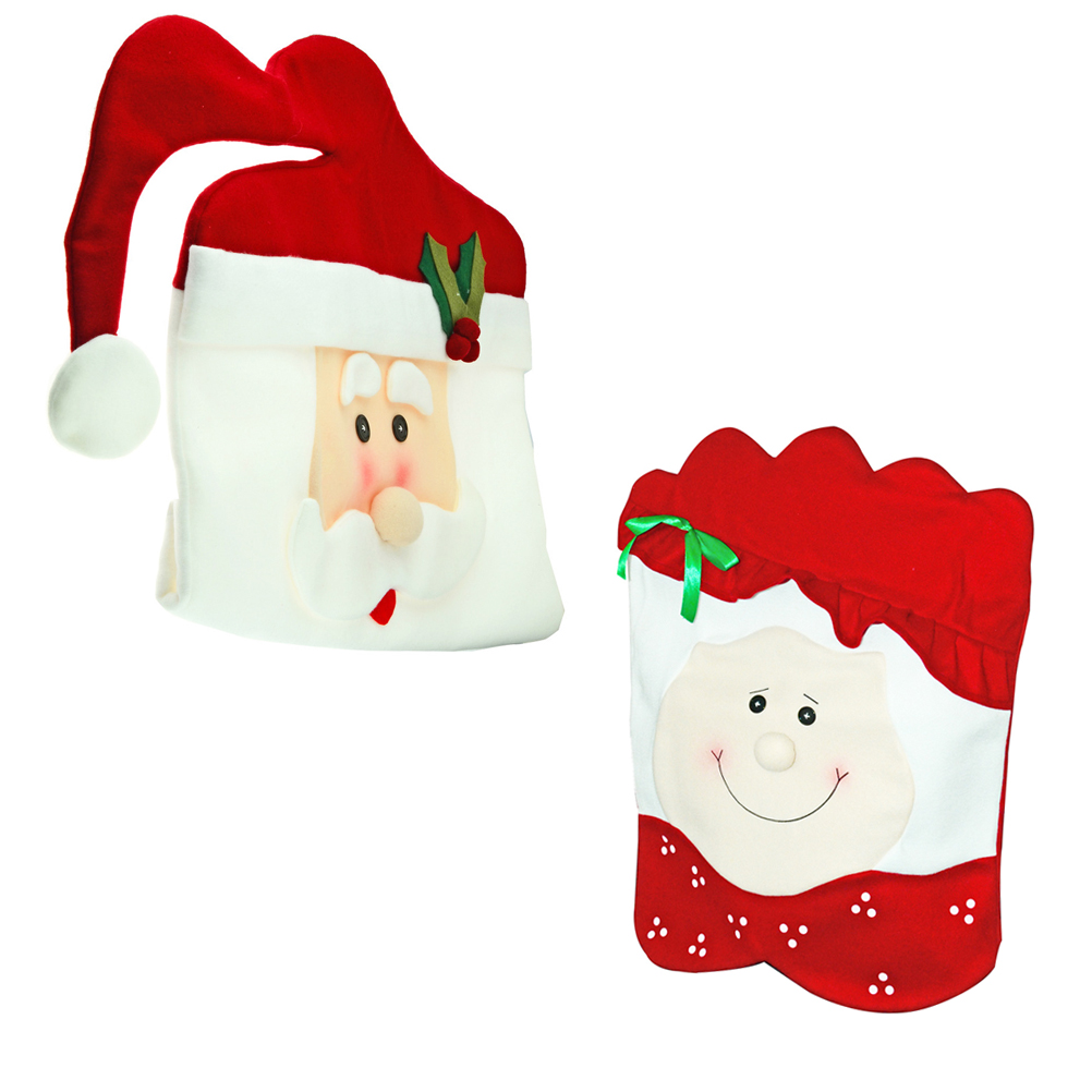 2pcs Set Christmas Chair Covers Cartoon Mr Mrs Santa Claus Dining Room Home Party Red Chairs Back Cover Decor New Year