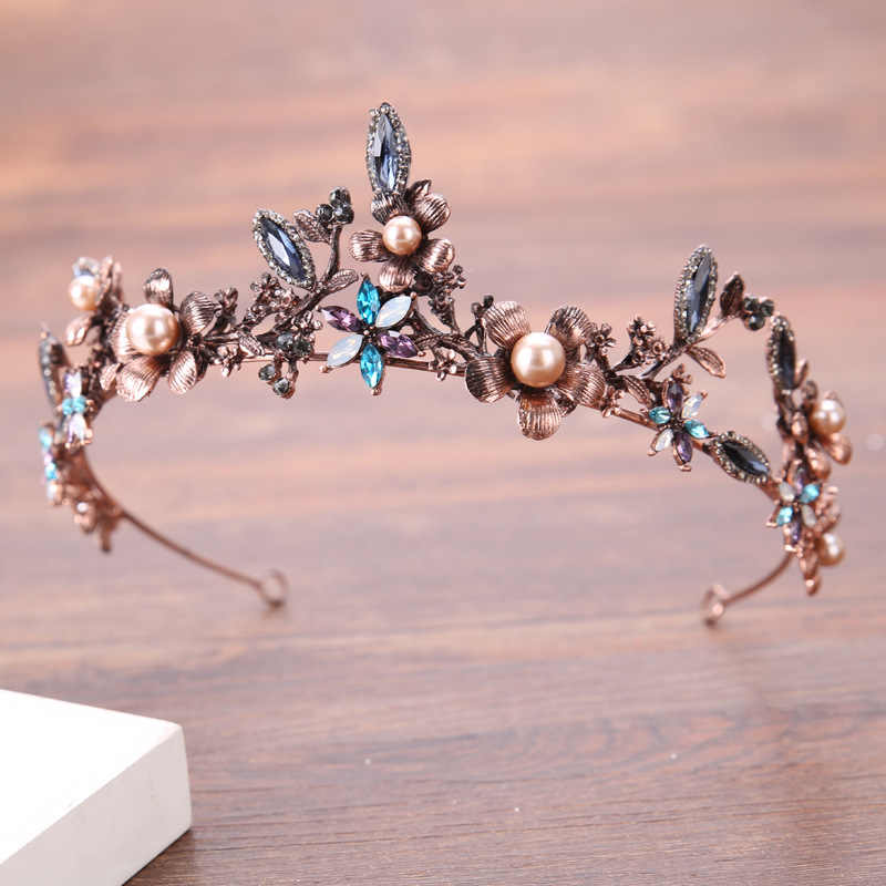 Gorgeous Vintage Gold Colorful Crystal Pearl Bridal Crowns Tiaras Wedding Hair Accessories Womens Baroque Crown Hair Jewelry