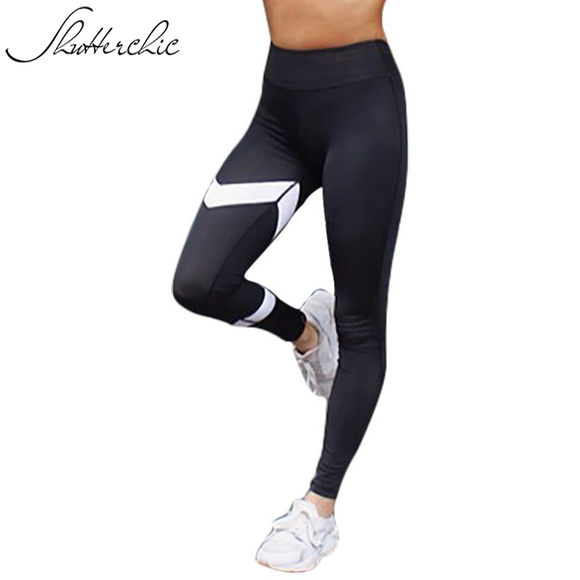 Prix pour 2017 Harajuku Sport Leggings Athleisure De Yoga Pantalon Fitness Gym Femmes Vêtements Noir Blanc Patchwork Flèche Jeggings Collants Pantalon