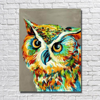 Handmade Abstract animal Colorful Cute owl Oil Painting on Canvas Wall art Pictures for Room home Decoration No Frame