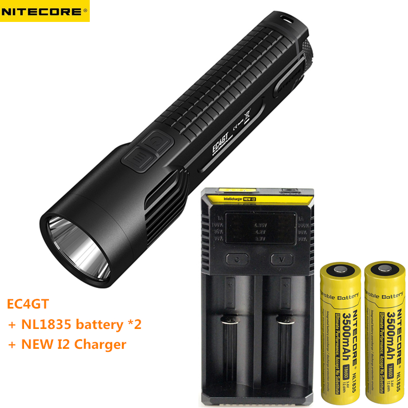 Flashlight NITECORE EC4GT XP-L HI V3 LED max.1000LM Beam throw 475 meters torch + 2 * 18650 3500mAh batteries + New I2 charger nitecore p12gt cree xp l hi v3 1000lm led flashlight 320 meter torch new i2 charger 18650 3400mah battery for search
