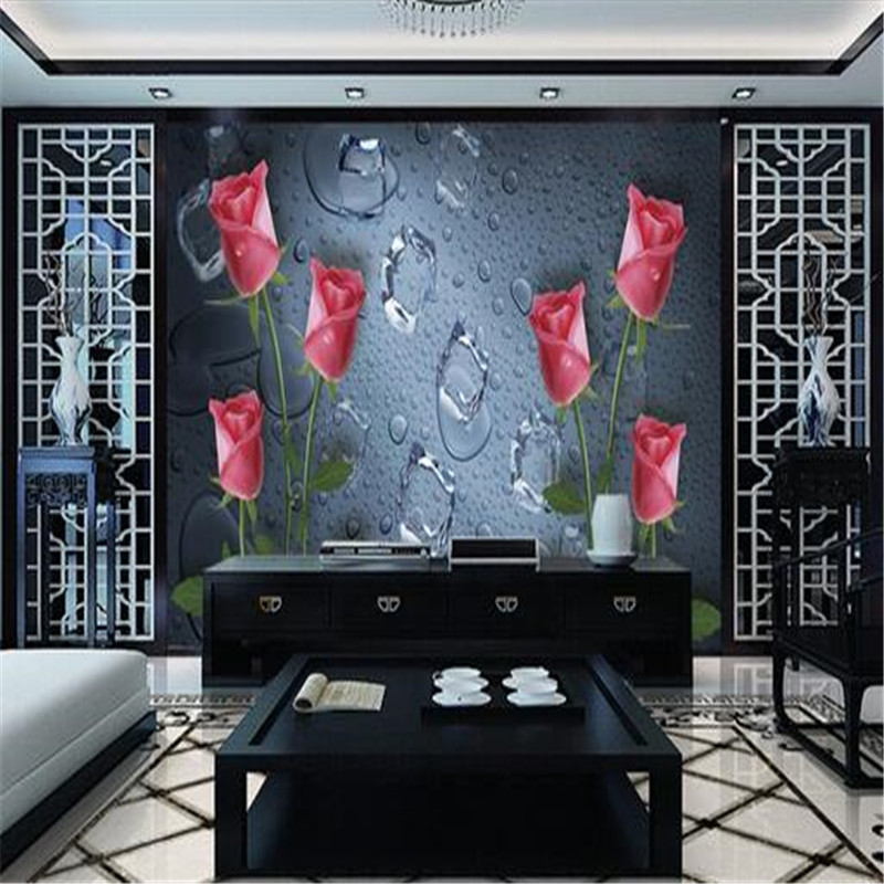 custom 3D photo wallpaper, modern 3D rose non-woven wallpaper living room bedroom TV background wall painting mural wallpaper pink romantic sakura reflection large mural wallpaper living room bedroom wallpaper painting tv backdrop 3d wallpaper