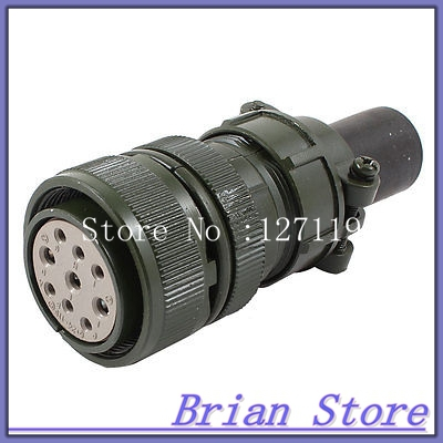 AC 500V 13A 9P Female Cable Aviation Plug Straight Connector Adapter Army Green electric cable aviation 4p 25mm pannel connector plug adapter ac 250v 7a