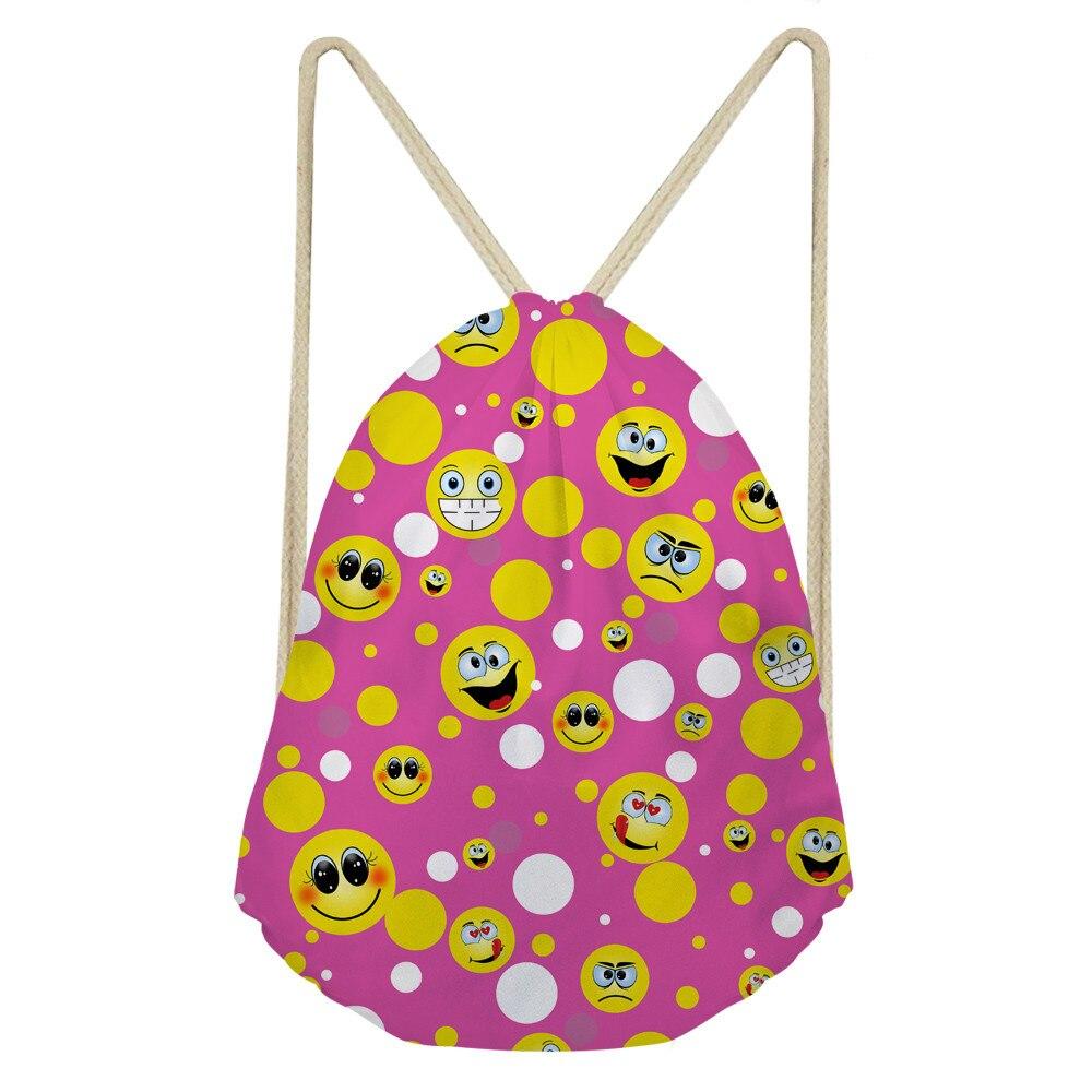 ThiKin Smile Emoji Print Girl School Book Bag Women Daily Drawstring Bag Lightweight Casual Shoulder Bag