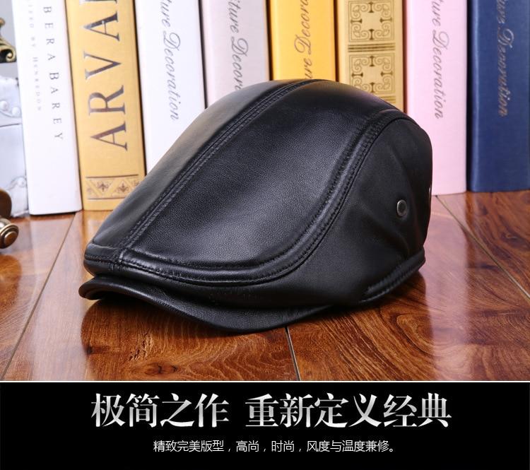 mens winter sheepskin leather baseball caps (1)
