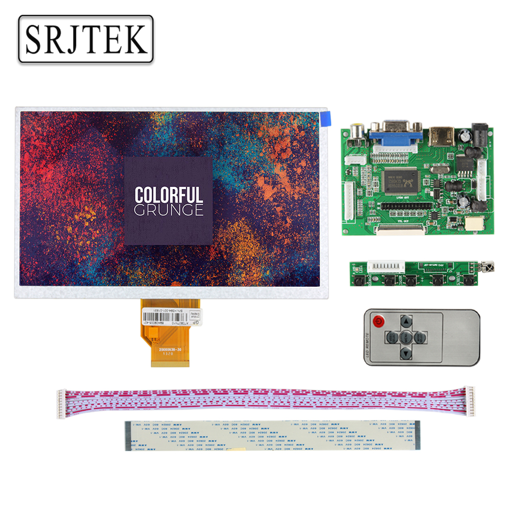 Srjtek 7 inch LCD Display Screen 800*480 AT070TN90 V.1 Monitor Remote Driver Board 2AV HDMI VGA For Lattepanda Raspberry Pi 3 2 new 7 inch p76ti 20000938 00 at070tn90 v 1 30 taiwan lcd display screen 20000938 5mm 20000938 3mm