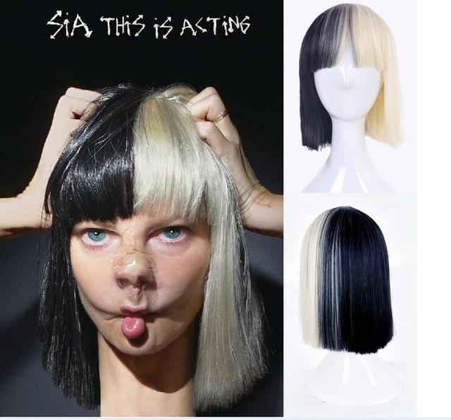 HOT!! High Quality Women's Sia Wig Medium Long Half Black and Half Blonde Cosplay Party Wigs.Synthetic Hair Wig Free Shipping